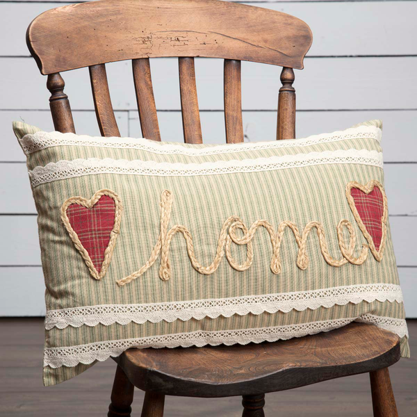 Home Embroidered Cushion with Check Hearts