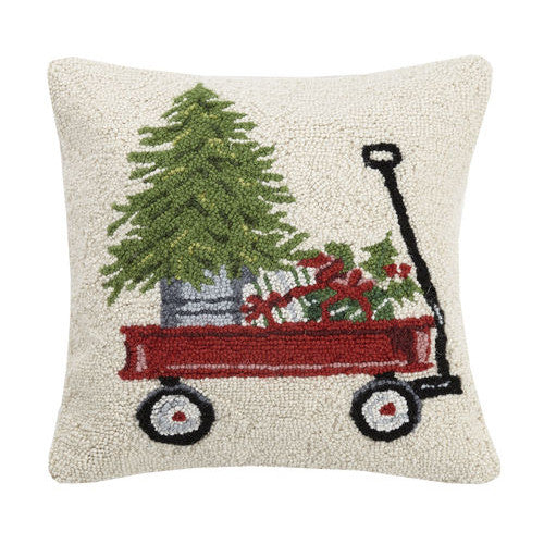 Vintage Red Wagon with Gifts Hooked Cushion