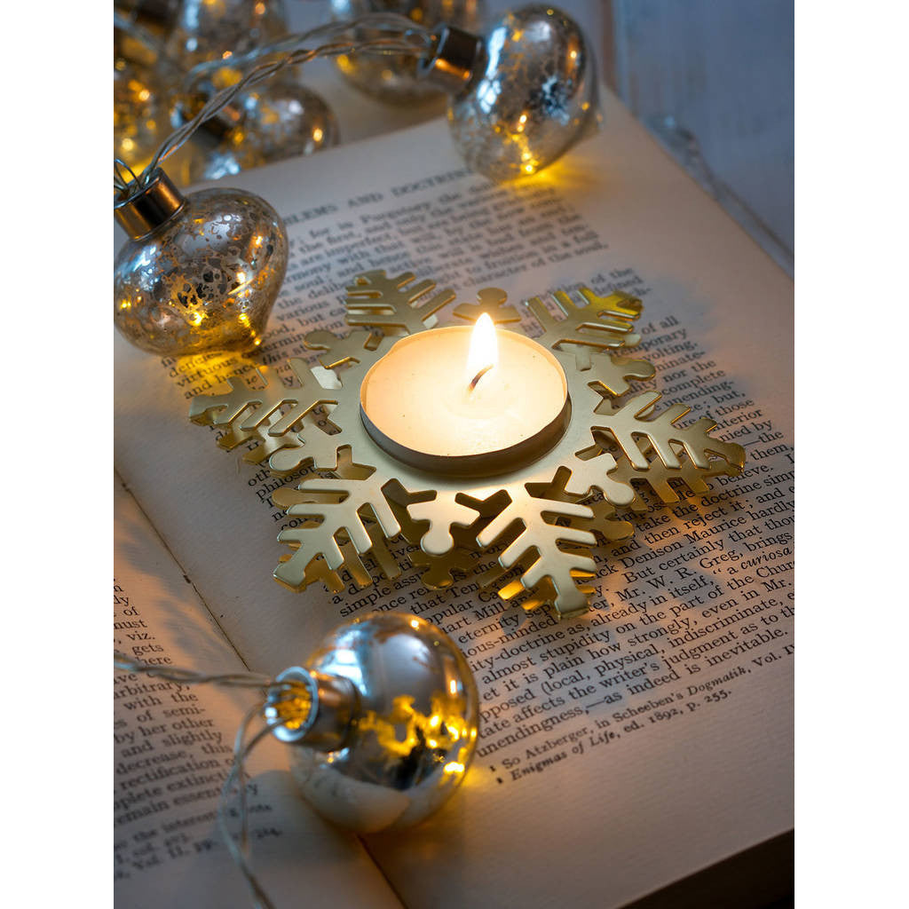 Matt Gold Snowflake Tea Light Candle Holder
