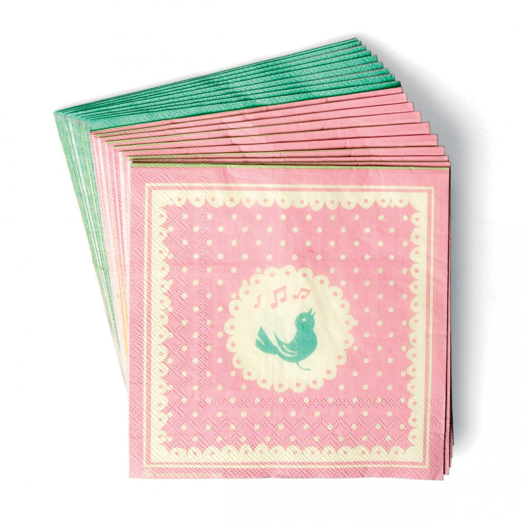 Set of 20 Songbird Spotty Paper Napkins