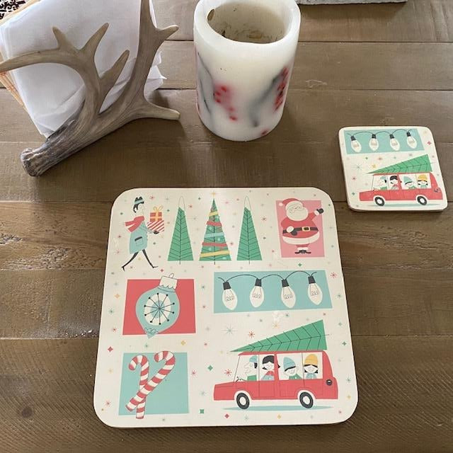 Retro Festive Family Coaster