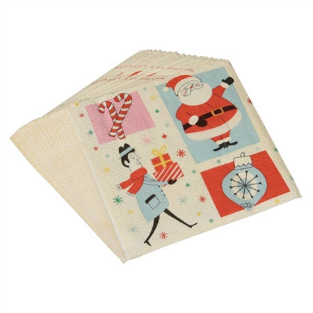 Pack of 20 Retro Christmas Napkins