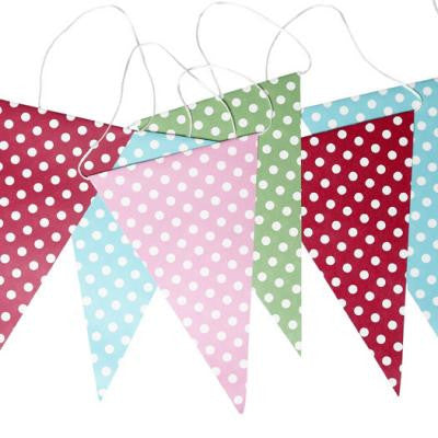 Retro Spots Bunting in Pink, Green, Red and Blue