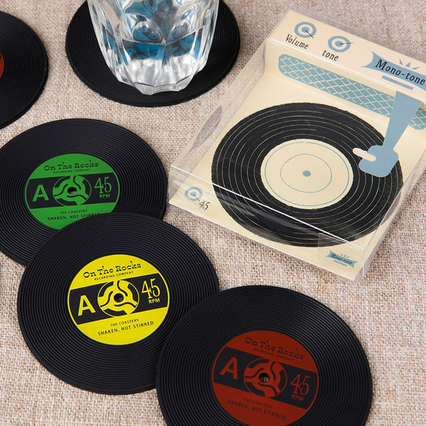 Set of 6 Retro Record Coasters in Box
