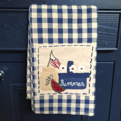 Summer Applique Navy Check Towel