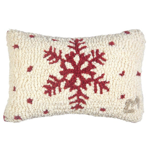 Red Snowflakes Hooked Cushion
