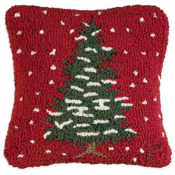 Red Flurries Hooked Wool Cushion with Velvet Backing