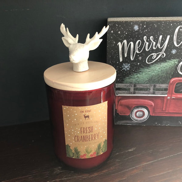 Fresh Cranberry Glass Candle with Stag's Head on Wooden Lid
