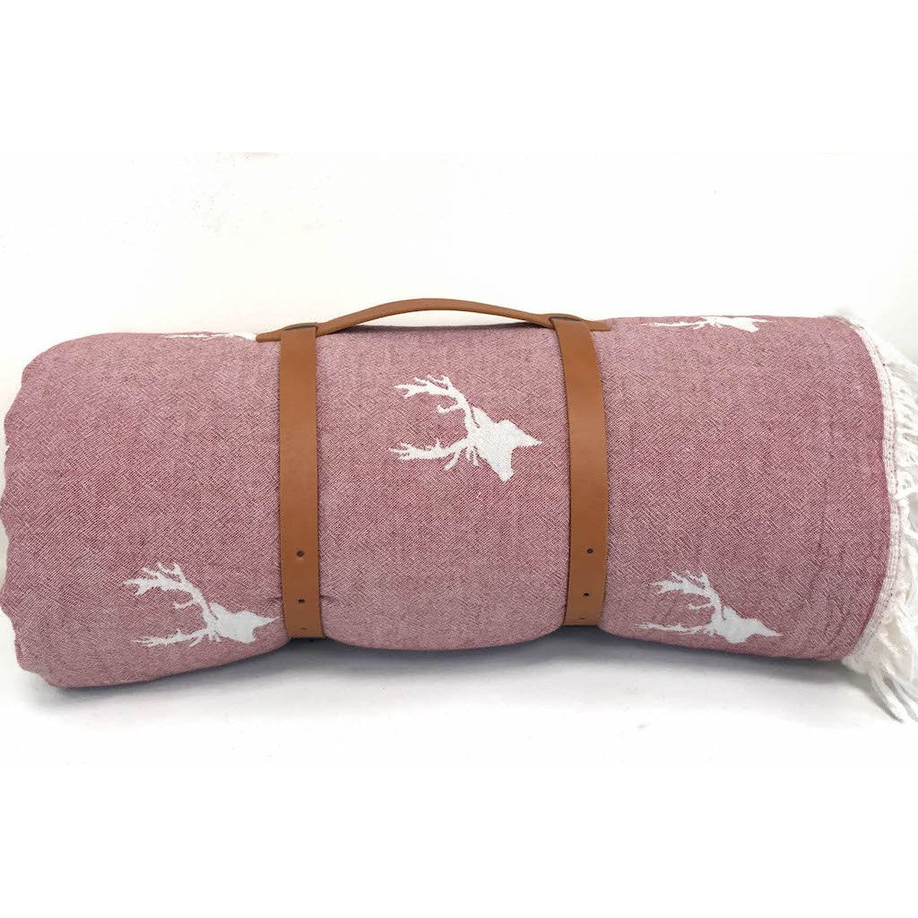 Red Stag Throw with Carrier Straps