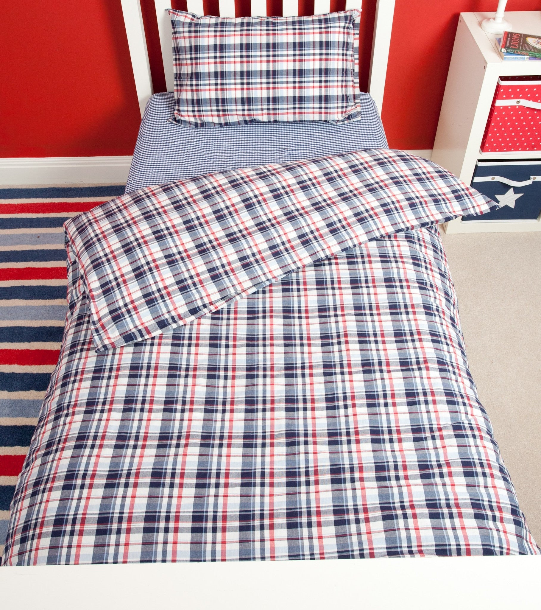dorma check sets bed linen balmoral cover duvet pin red dunelm set