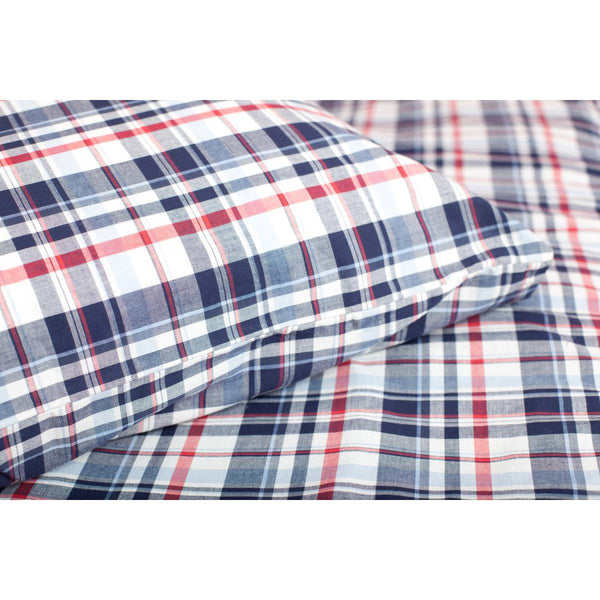 Red White and Blue Check Duvet Set