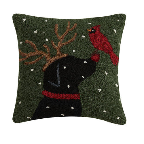 Reindeer Dog with Cardinal Hooked Cushion