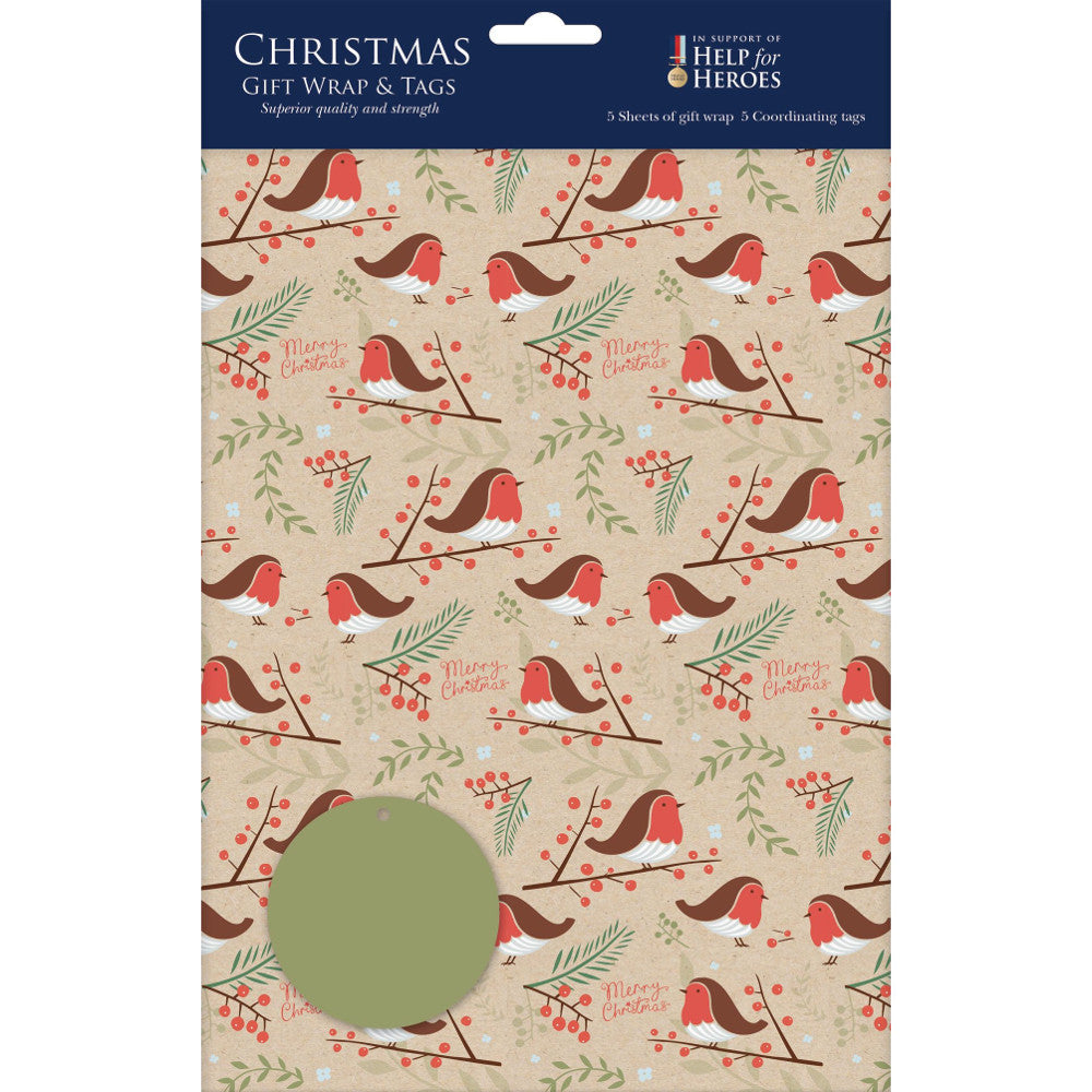 Vintage Style Christmas Robin Gift Wrap and Tags Set