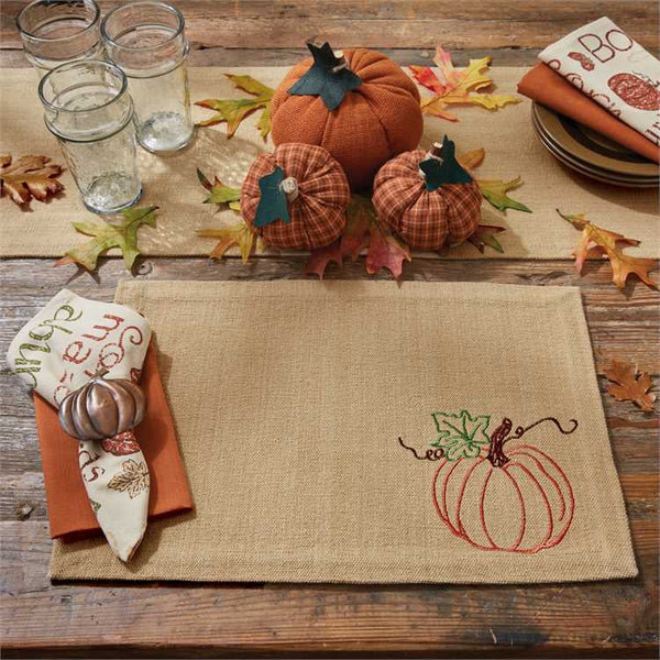 Rustic Pumpkin Embroidered Tablemat