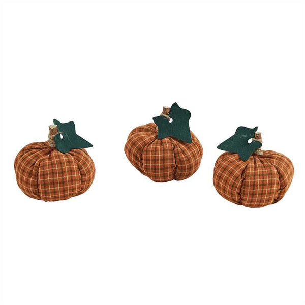 Set of 3 Check Fabric Pumpkins