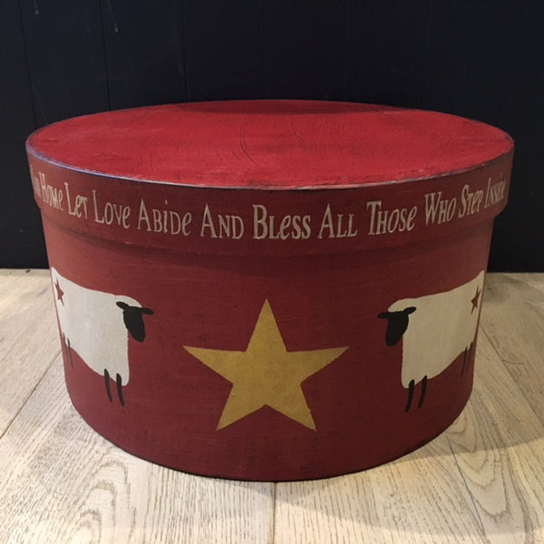Barn Red Shaker Box with Sheep and Stars