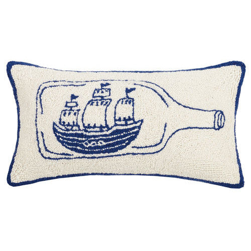 Ship in a Bottle Hooked Cushion