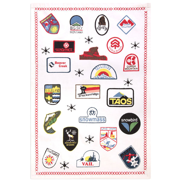 Retro Ski Patches Tea Towel