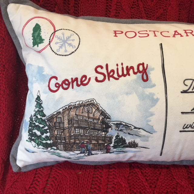 Gone Skiing Wintry Postcard Cushion
