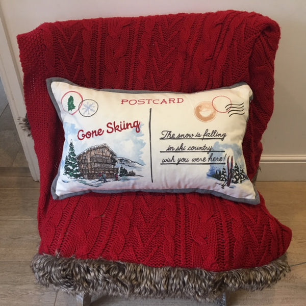 Gone Skiing Postcard Cushion