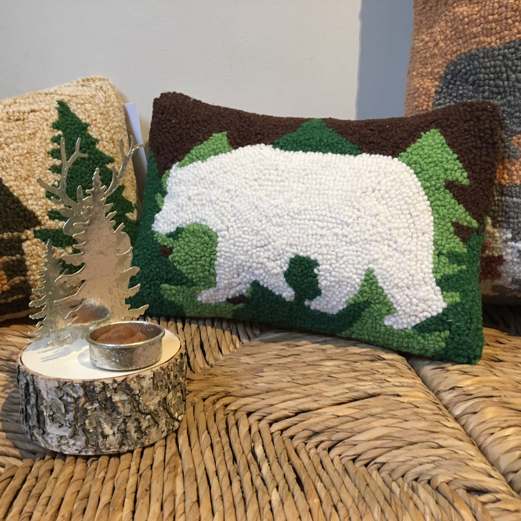 Polar Bear And Trees Hooked Cushion