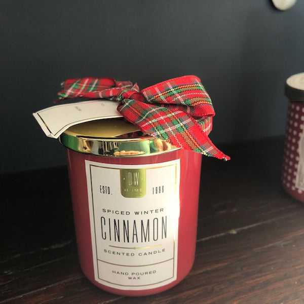 Spicy Winter Cinnamon Candle with Bow Detail