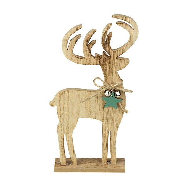 Wooden Stag with Star and Bells