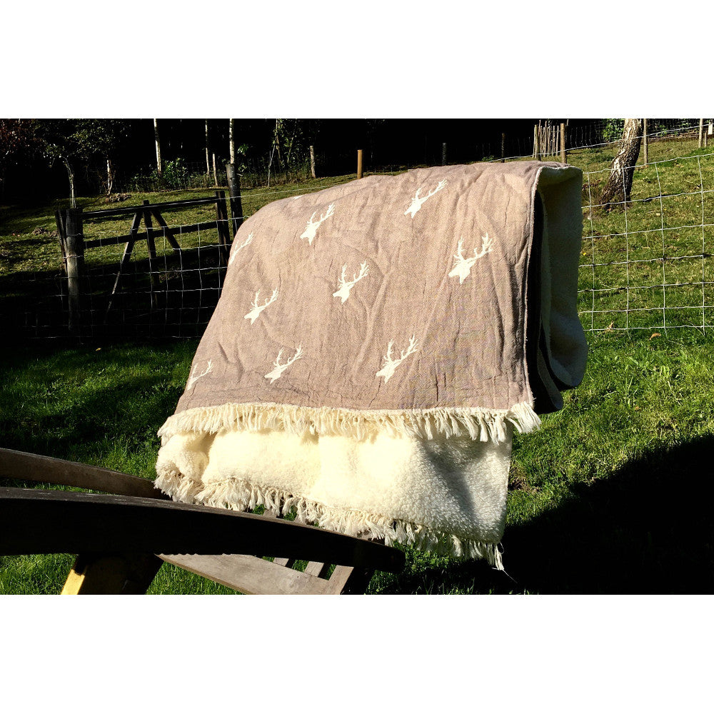 Taupe Woven Stag Throw with Cosy Fleece Backing