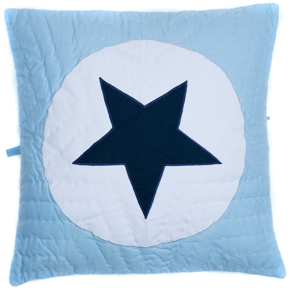 Blue Star in Circle Cushion