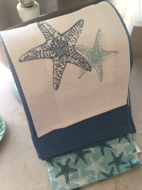 Set of 3 Seaside Style Tea Towels with Starfish