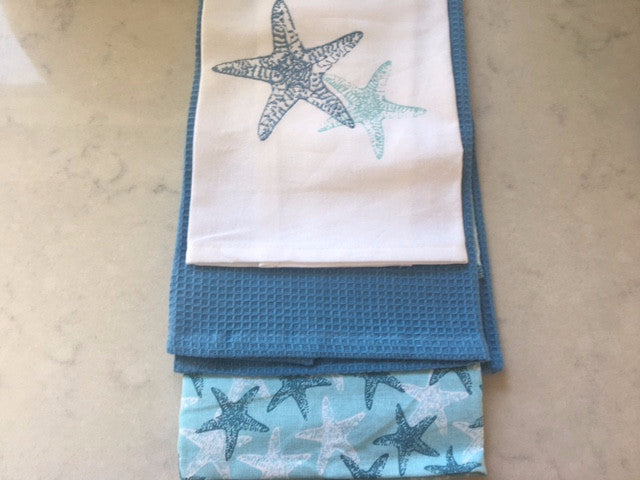 Seaside Style Tea Towels in Blues and White