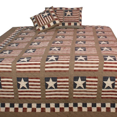 Earthy Stars and Stripes Quilt