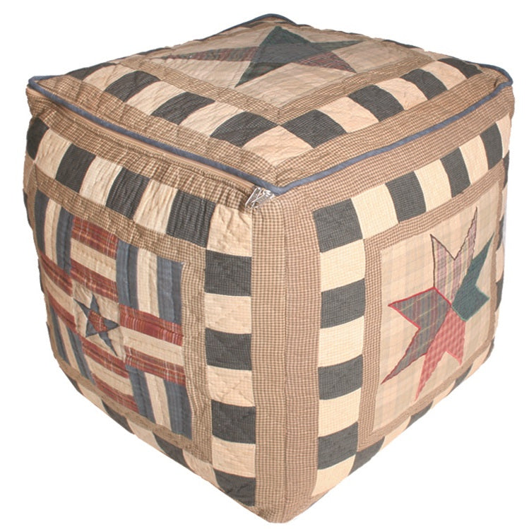 Folk Sampler Stars and Flags Pouffe