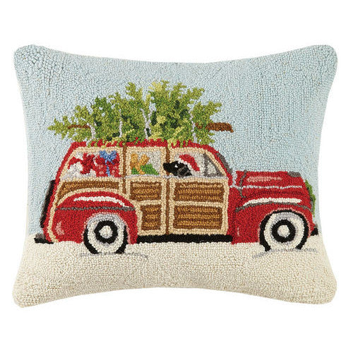 Station Wagon with Black Lab Hooked Cushion