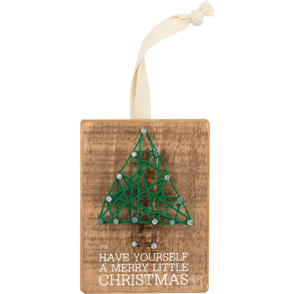Have yourself a Merry Little Christmas String Art Block Ornament