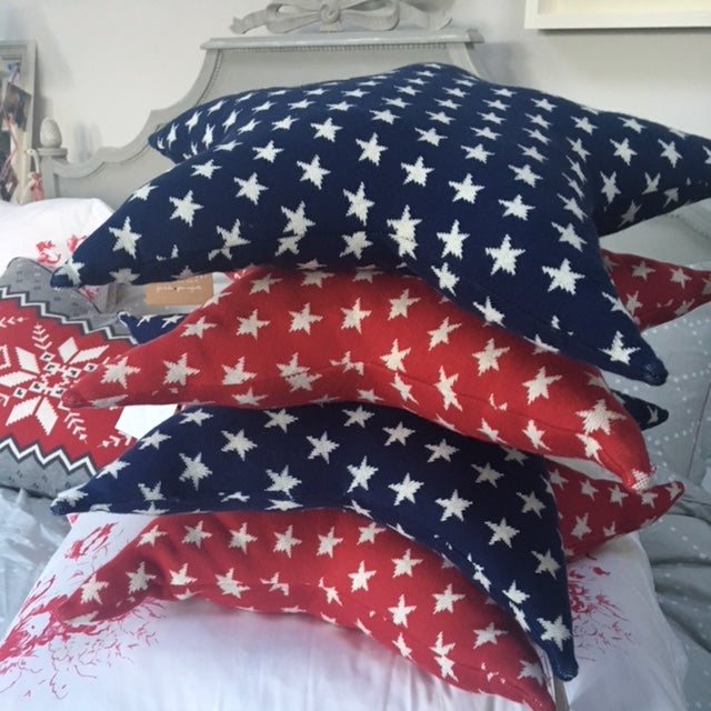 Starry Red and Navy Cushions
