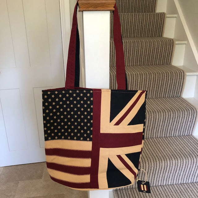 Tote Bag with Half Union Jack and Half American Flag