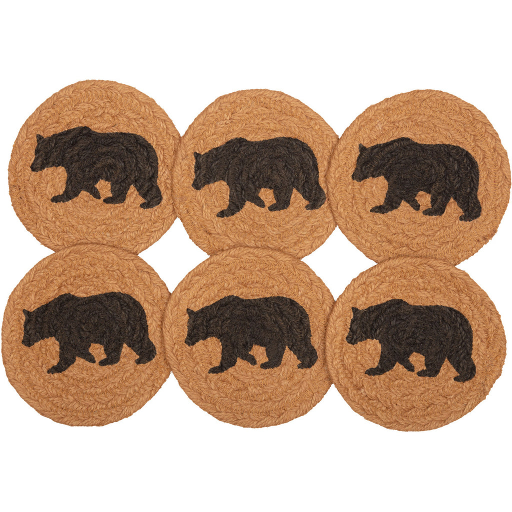 Set of 6 Bear Jute Coasters