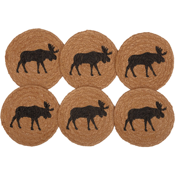 Set of 6 Jute Coasters with Moose Design