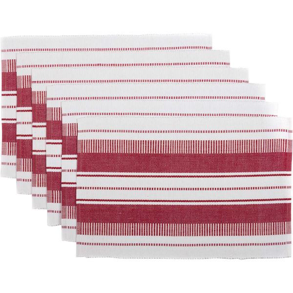 Red Stripes Ribbed Tablemat