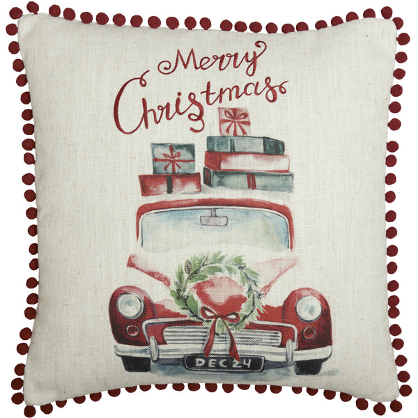 Merry Christmas Vintage Truck Cushion