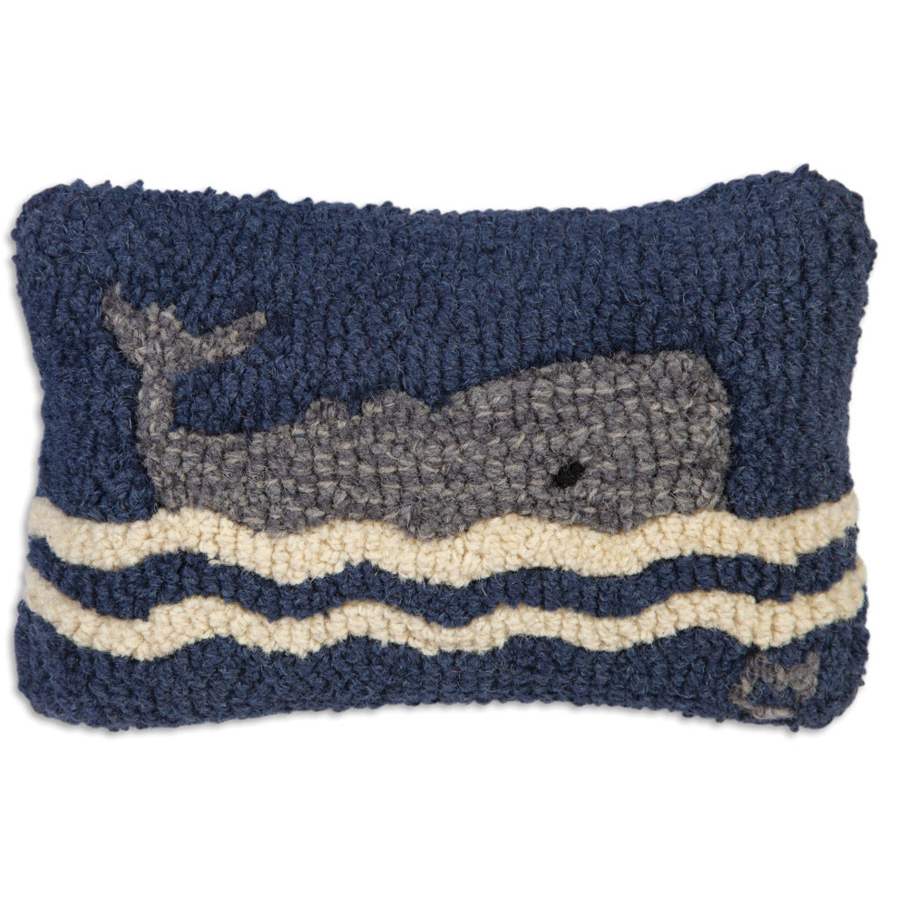 Small Wavy Whale Hooked Cushion
