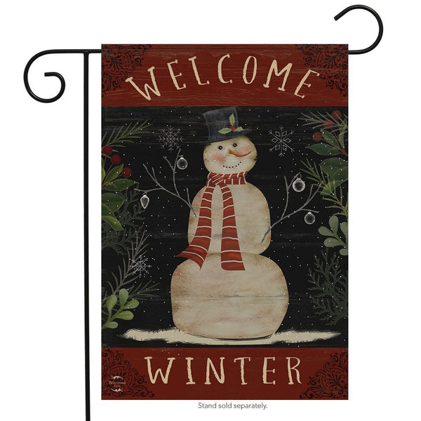 Welcome Winter Snowman Garden Flag UK