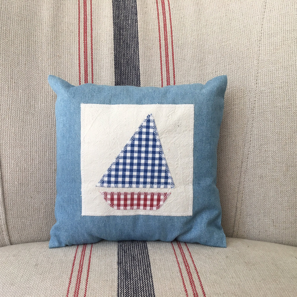 Sailboat on Denim Cushion