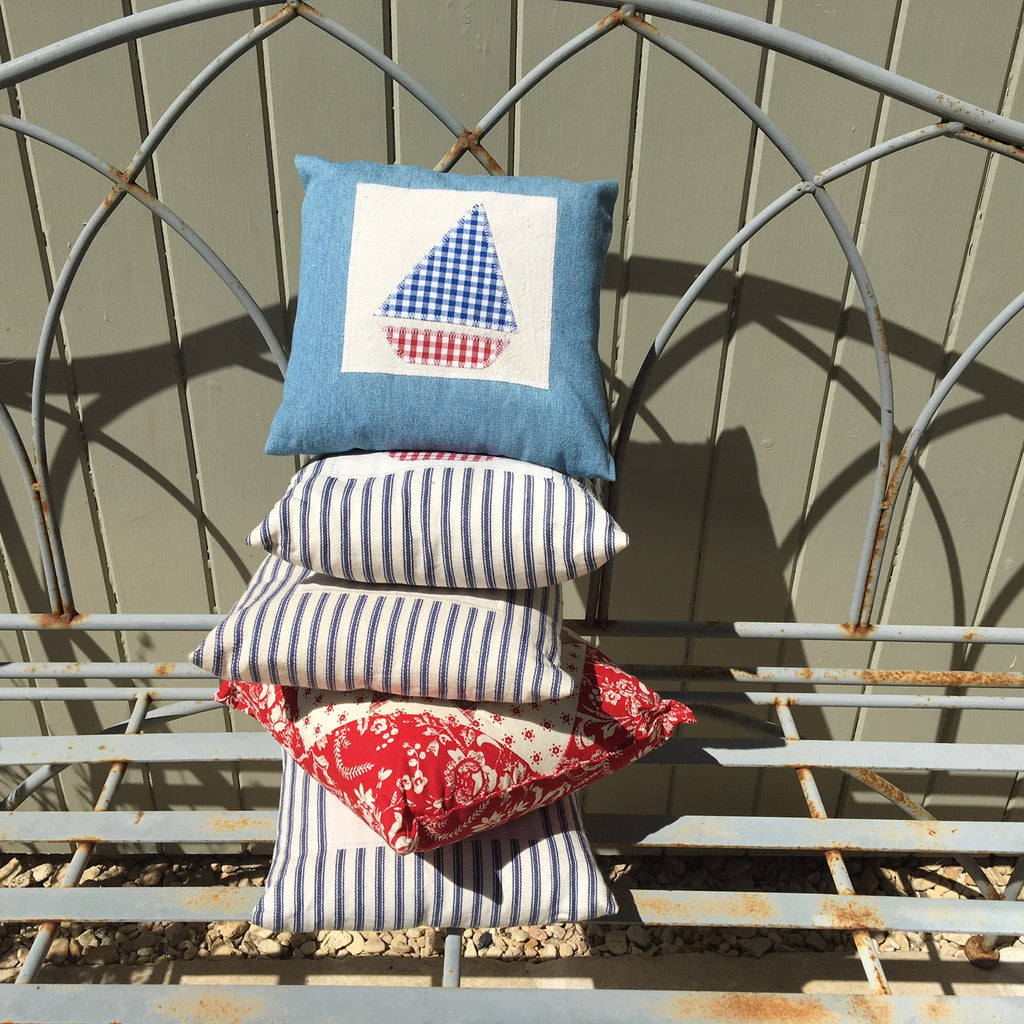 Denim Sailboat Little Cushion