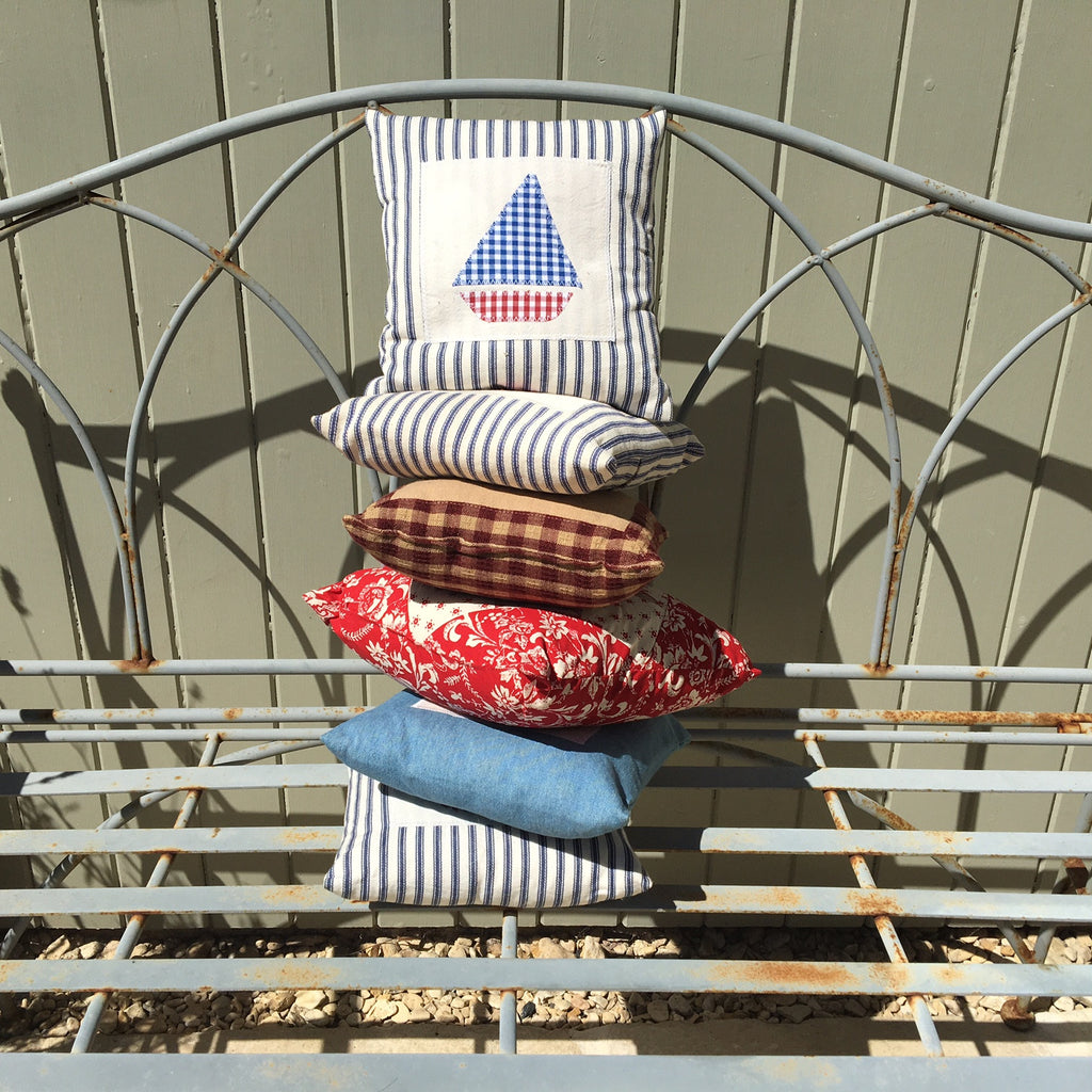 Sailboat on Ticking Stripe Cushion