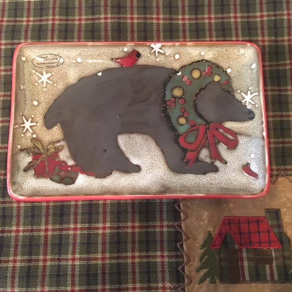 Wonderland Spoon Rest with Festive Bear