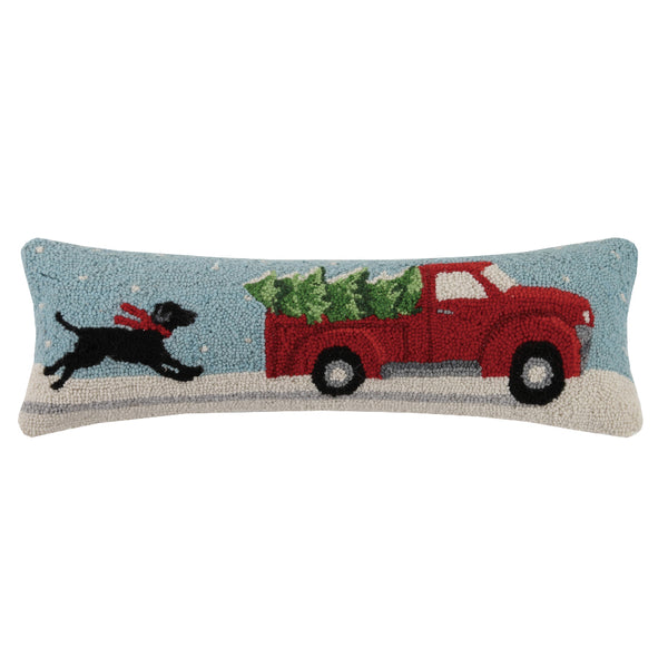 Christmas Chase Oblong Hooked Cushion