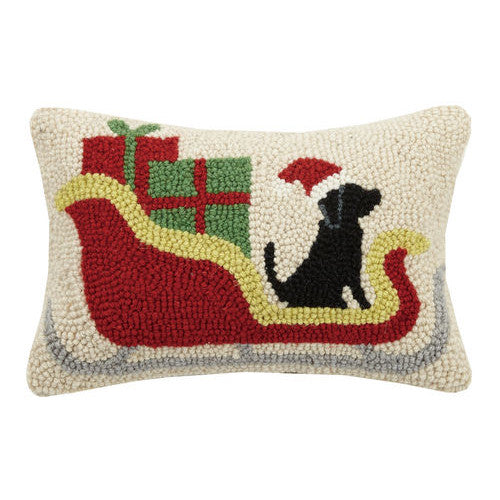 Christmas Dog Sleigh Hooked Cushion