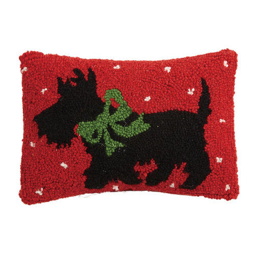 Christmas Hooked Cushion with Scottie Dog Design